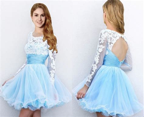 Longdress Serena Blue Df sale mini light blue prom dresses with sleeves cheap tulle skirt prom gown
