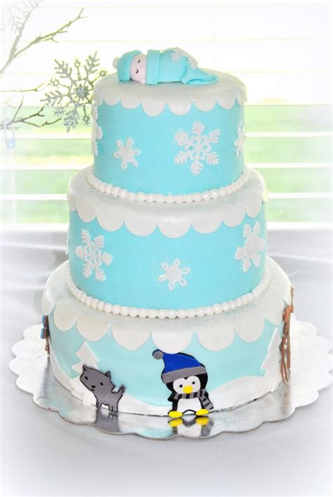 Winter Baby Shower Cake by Winter Baby Animal Cake Winter Themed Baby