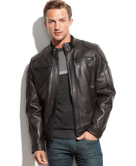 mens moto jacket lyst calvin klein leather moto jacket in black for men