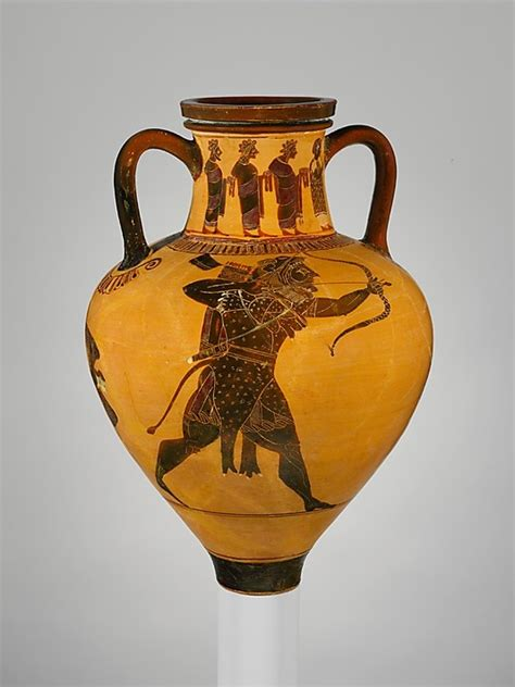 Greek Vase Decoration Etruscan Terracotta Neck Amphora Jar C 500bc Roma