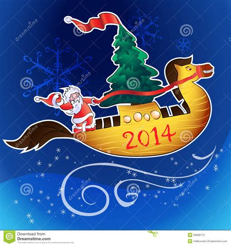 horse ship and santa stock vector illustration of merry