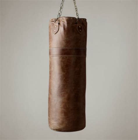 vintage leather punching bag so that s cool