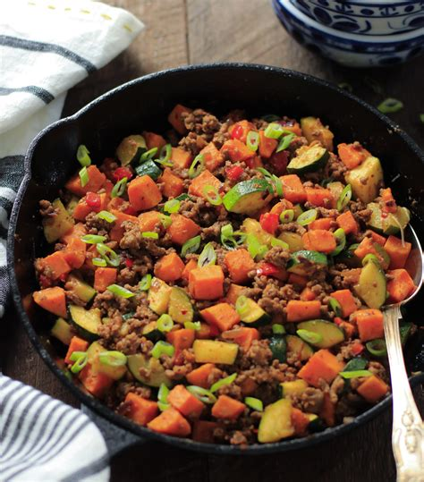 carbohydrates yams sweet potatoes ground beef zucchini sweet potato skillet meal prep