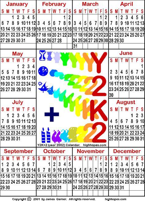 August 2002 Calendar Free 21st Century Calendar And A Free Y2k Calendar