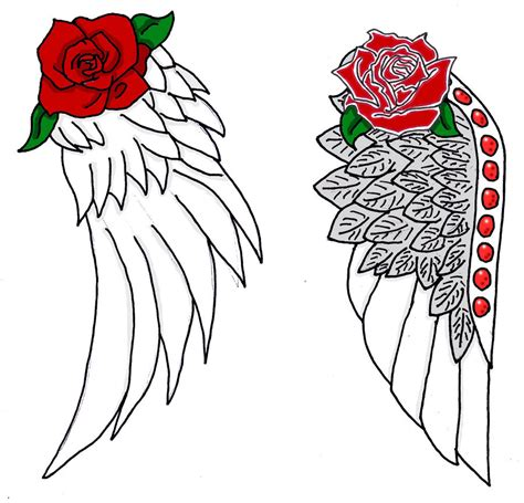rose tattoo with angel wings wings with by hao chan2 deviantart