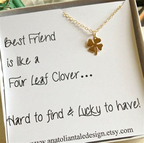 four leaf clover necklace best friend gift christmas