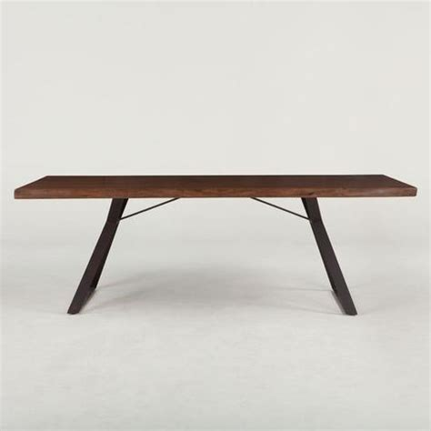 home trends design london loft dining table in walnut london loft dining table acacia wood hand forged iron