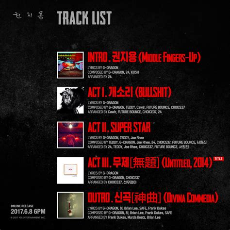 G Untitled 2014 Album Kwon Ji Yong bigbang s g unveils tracklist and cover images for