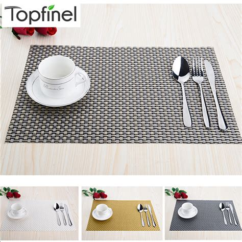top finel set of 8 pvc decorative weave vinyl placemats