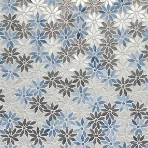Artistic Tile   Dapper Daisy   Blue/ Silver   Water Jet