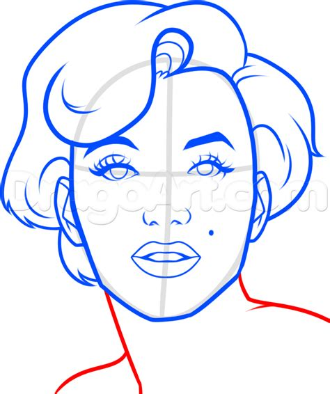 drawing easy how to draw marilyn easy step by step free drawing tutorial