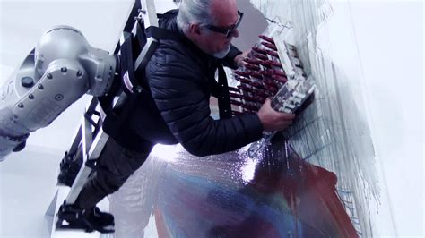 film robot becomes human daring artist becomes a human paintbrush for a giant fully