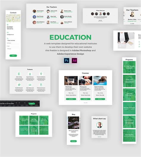Education Web Template Free Ui Kit In Psd And Adobe Xd Freebiesui Adobe Xd App Templates