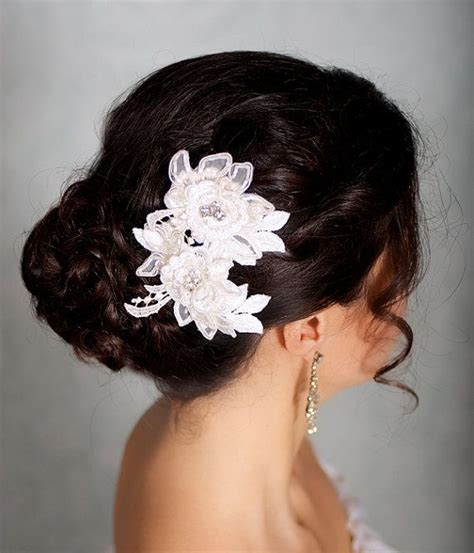 flower wedding hair clip ivory hair flowers lace headpiece bridal hair flowers bridal hairpiece ivory hair