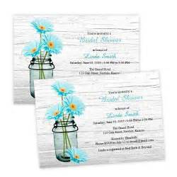 country bridal shower invitation aqua daisies in a mason
