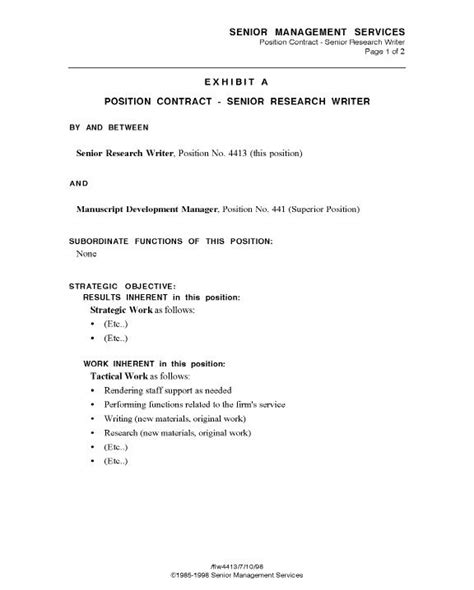 position agreement template contract templates printable sle employment