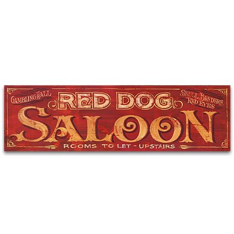 Vintage Wooden Signs Home Decor Red Dog Saloon Vintage Western Decor Sign 32x9