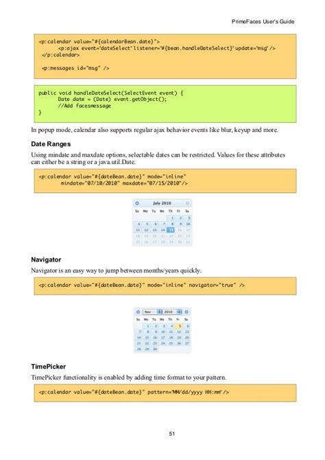 P Calendar Ajax Primefaces User Guide 5 0