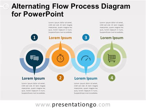 Alternating Flow Process Diagram For Powerpoint Process Flow Diagram Ppt