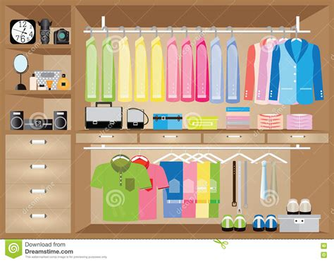 S Closet Boutique by Flat Design Walk In Closet With Shelves Stock Vector