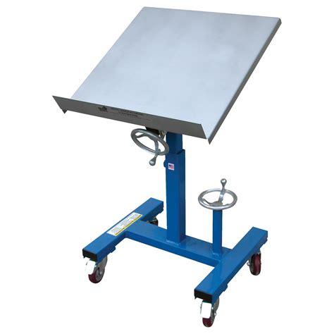 vestil mobile tilting work table 300 lb capacity 24in