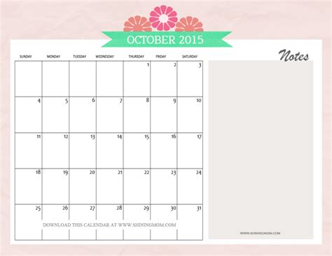 printable calendar pretty free printable october 2015 calendars