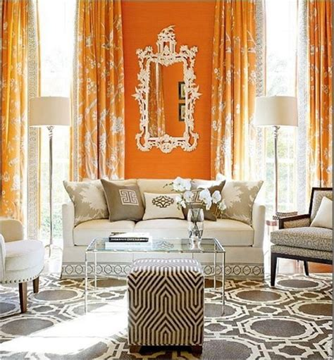 Orange Grey Living Room by Decorating With Orange Centsational
