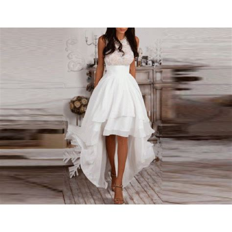 high low white skirts zipper waist floor length