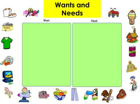 kindergarten activities needs and wants needs and wants by amelia12001 teaching resources tes