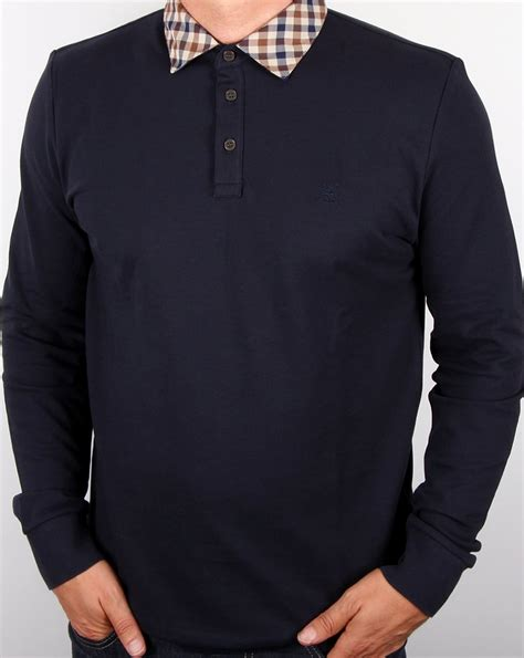 Nathan Shirt aquascutum nathan check collar polo shirt navy sleeve mens