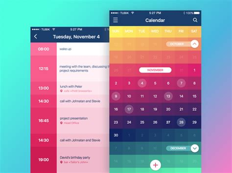 Aaps Calendar Color In Ui Design Look On The Bright Side Tubik Studio