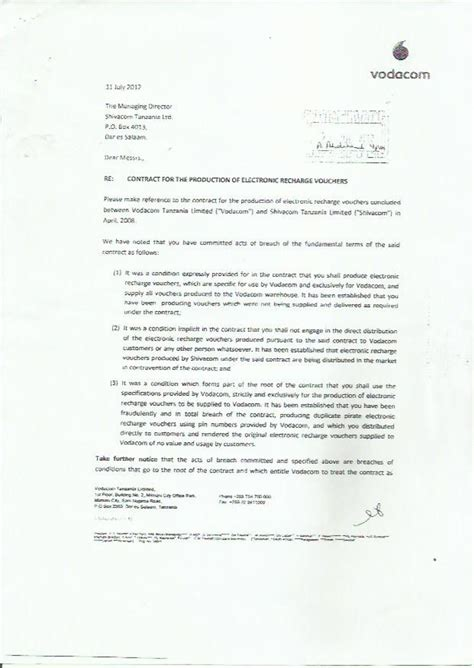 vodacom contract cancellation letter the great vodacom tanzania swindle commsrisk