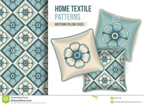 vector pattern matching pattern and set of decorative pillows stock vector image