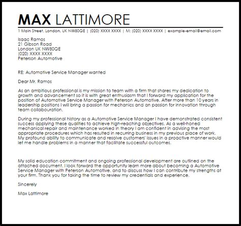 Auto Repair Cover Letter by Automotive Service Manager Cover Letter Sle Livecareer
