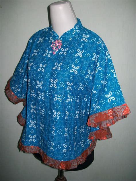 model blus batik wanita terbaru warna biru kelelawar kipas bkp003