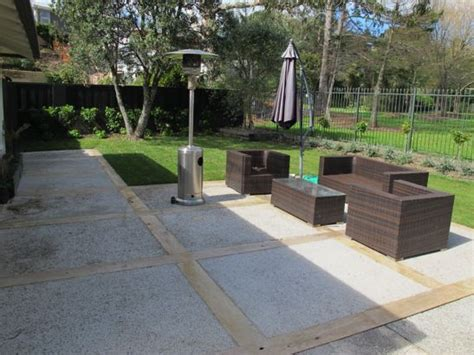 Macrocarpa Sleepers by Concrete With Macrocarpa Sleepers Backyard Ideas Concrete Patios Patio And Search