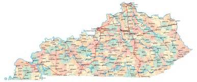 Kentucky Usa Map by Large Administrative Map Of Kentucky State With Highways