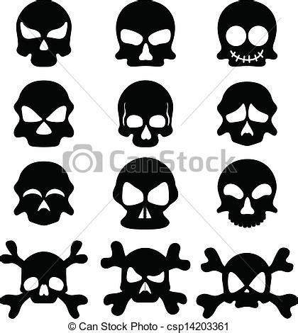 clip art vector of skull symbol set abstract black skull