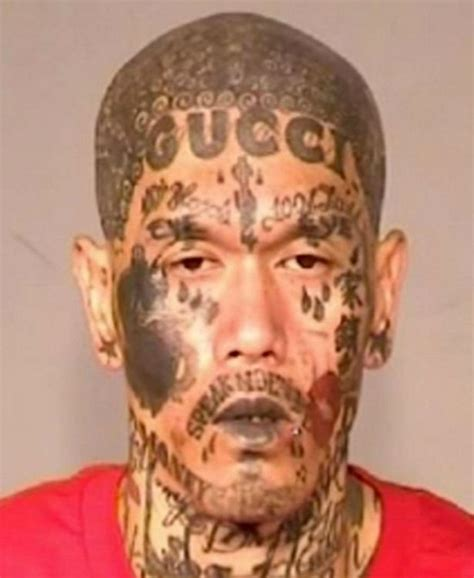 gucci logo tattoo on face gucci gangster arrested in california with crazy tattooed