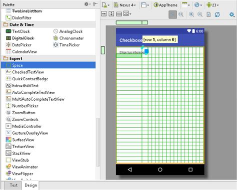 layout android space usar checkbox controles en android
