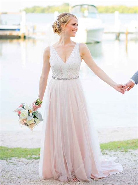 blush colored wedding dresses the prettiest blush and light pink wedding gowns
