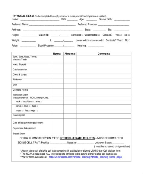 physical assessment form sle physical assessment forms 8 free documents in