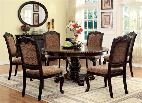 7 Piece Dining Room Table Sets by Bellagio Brown Cherry Round Pedestal Dining Room Set From