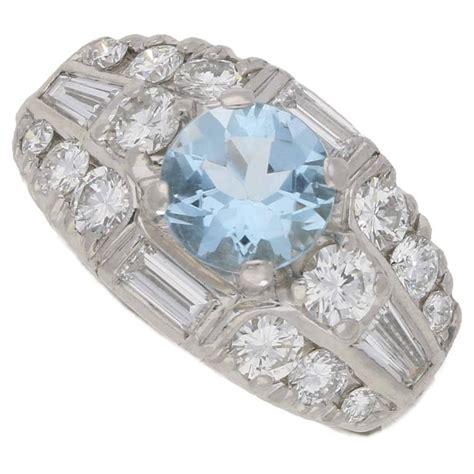 aquamarine deco engagement ring aquamarine deco ring in platinum for sale at 1stdibs