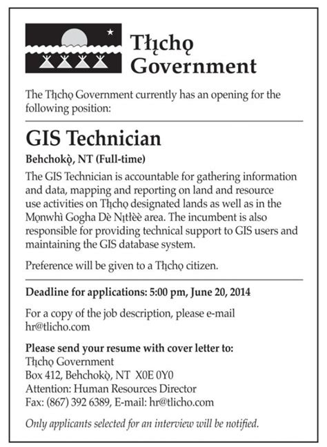 Motivation Letter For Gis Employment Opportunity Gis Technician Tlicho