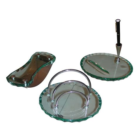 Glass Desk Accessories 1940s Desk Set In Glass At 1stdibs
