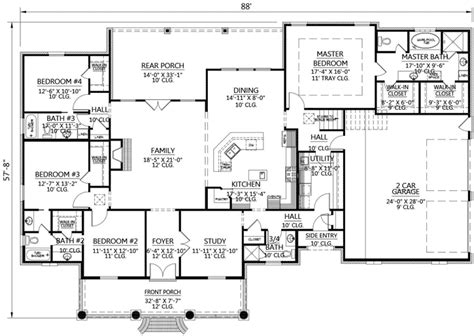 653667 french acadian four bedroom with many extras house plans floor plans home plans acadian style house plans with bonus room