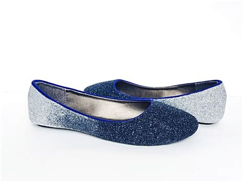 navy blue flat wedding shoes glitter flats navy blue silver ombre blue fade shoes