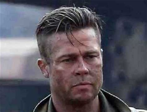whats the new hairstyle called whats the haircut in fury called screen shot brad pitt