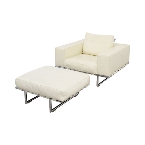 white chair with ottoman 85 moura moura white leather